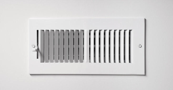 HVAC heating/cooling vent register on wall