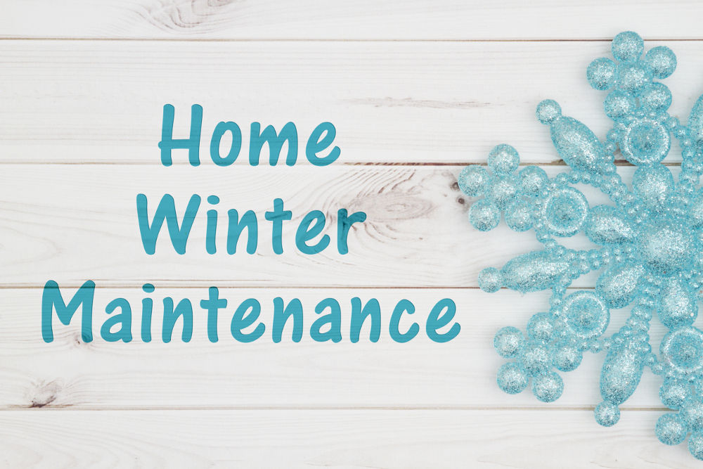 Illustration of home winter maintenance with snowflake on wood